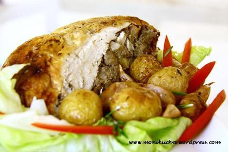 pieczony kurczak z watróbka i ciecierzycą
