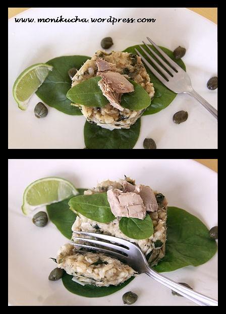 Risotto z tuńczykiem, kaparami i szpinakiem